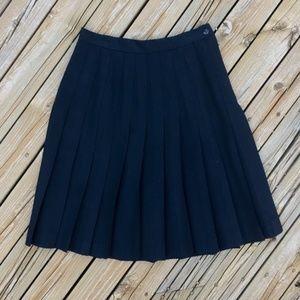 VINTAGE Pure Wool Black Pleated Skirt